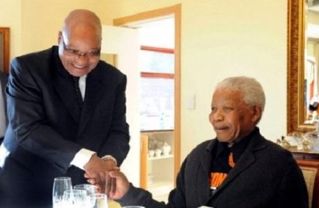 Mandela recibió la visita del presidente Zuma